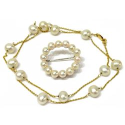 Estate Mikimoto Pearl Necklace & Brooch