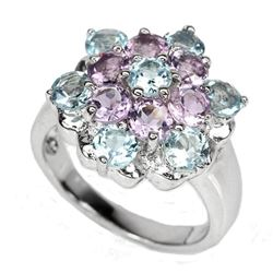 Amethyst & Topaz Sterling Flower Cocktail Ring
