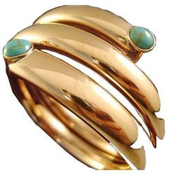 Taxco Mexico Copper, Turquoise Bangle Bracelet