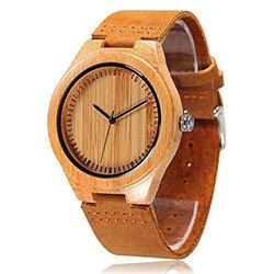 Cucol Wrist Watches Men's Bamboo Wooden With Brown Cowhide Leather Strap Quartz