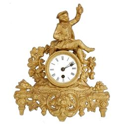 19thc Gold Gilt French Hunting Scene Mantel Clock
