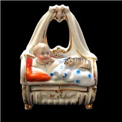Late 19thc Victorian, German Conta Boheme,Child & Cat Fairing Trinket Box