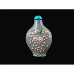 Molded Porcelain Floral Snuff Medicine Bottle