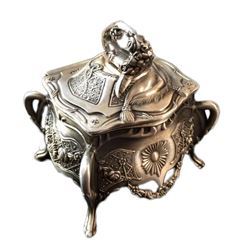 Silver Metal Floral Embossed Jewel Trinket Box