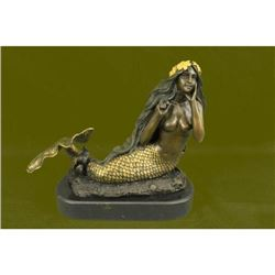 Art Deco Special Patina Gilt Bronze Mermaid Fantasy Sculpture Figurine Hot Cast