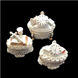 Set of Three Mid 19thc Continental Porcelain Fairing Boxes