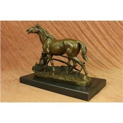 Whinny Stallion Arabian Horse by Mene Bronze Sculpture Marble Base Statue Figure