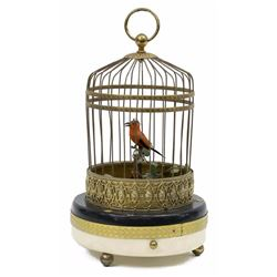 French Automaton Singing Bird in Cage