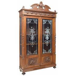 Italian Heavily Carved Hunting Bookcase