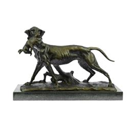 Hunting Dog with Rabbit Bronze Sculpture
