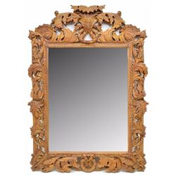 """Large Heavily Carved Beech Wood Wall Mirror 83""""H"""