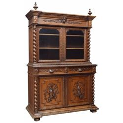 French Henri Ii Style Carved Oak Game Sideboard