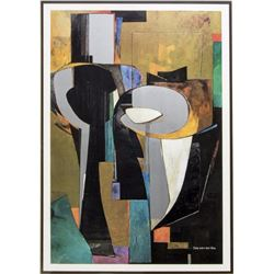 "Vander Zee Modern Framed Abstract ""Silver Columns"""