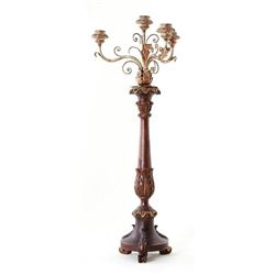 Continental Carved Wood Candelabrum