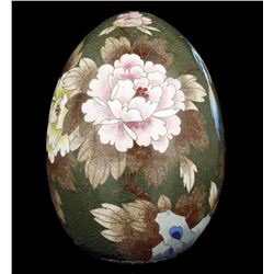 China Collectible Handwork Painting Peony Rare Cloisonne Egg Statue Decoration