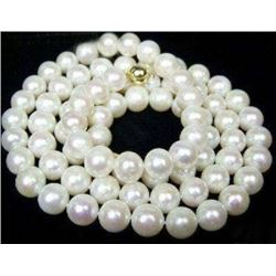 "8-9mm AAA White Akoya Pearl Necklace 18"" 14K Clasp"