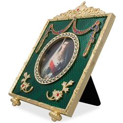 """5"""" Faberge Square Green Enameled Guilloche Russian Antique Style Picture Frame"""