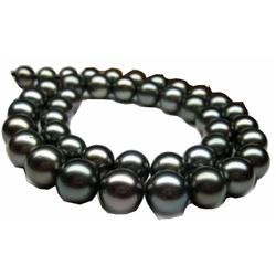 natural 100% 14K AAA+ 9-10mm tahitian black pearl necklace 35 inch