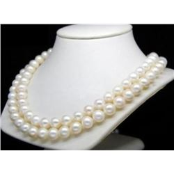 """8-9MM White Akoya round Pearl Necklace 35"""" 14K Gold Clasp"""