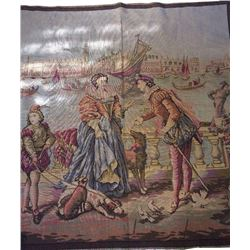 """Antique French Tapestry Lovers In Venice Italy 46"""" X 49"""" Dogs Gondolas Mandolin"""