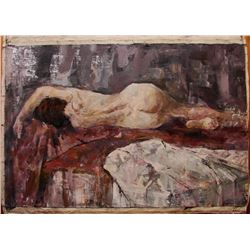 20thc Signed Russian Impressionism, Figural Nude Painting