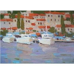 Yacht Seascape Impressionism Original Oil Painting Colorful Art By Anna Gusarova