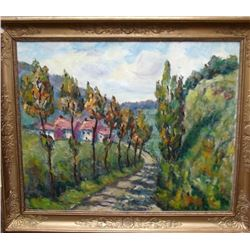 Mid Century Signed French Impressionist Landscape Oil Painting