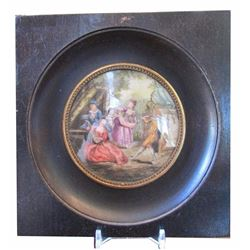 Hand-painted Signed Miniature Painting on Porcelain, Royal Court Scene