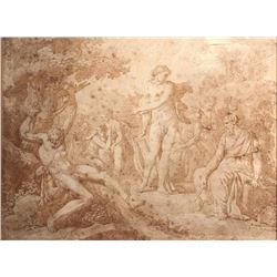 18th Century Italian Old Master Ink Drawing Nude Bacchanale Orgy Scene