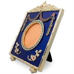 """5"""" Faberge Square Blue Enameled Guilloche Russian Antique Style Picture Frame"""