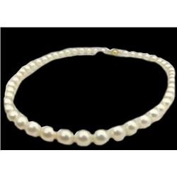"""Real AAA+ 9-10MM White Akoya Pearl Necklace 18"""" 14K"""