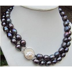 Beautiful Tahitian 10-13mm Black Baroque Pearl Necklace 17-18""