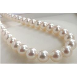 "Huge AAA++ 9-10MM Perfect round South Sea Genuine White Pearl Necklace 18"" 14K"