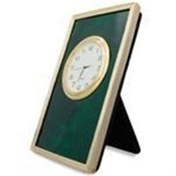 """5"""" Faberge Green Enameled Guilloche Rectangle Russian Antique Style Clock"""