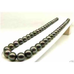 """AAA+ 9-10MM Natural black Tahitian Cultured Pearl Necklace 18"""" 14K gold clasp"""