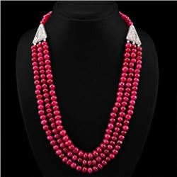 570.40 CTS of natural 3 line red ruby round beads necklace