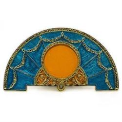 Aqua Enameled Semicircular Russian Royal Picture Frame