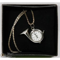 OMAX 'FRENCH HORN' PENDANT WATCH WITH CHAIN - NEW