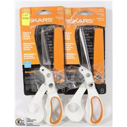 LOT OF 2 FISKARS SCISSORS FOR CUTTING THICK