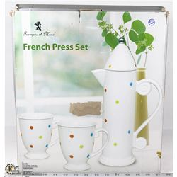 FRENCH PRESS SET (WHITE, POLKA DOT)