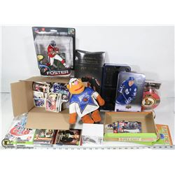 BOX OF VARIOUS SPORTS ITEMS INCL SEALED NHL XBOX