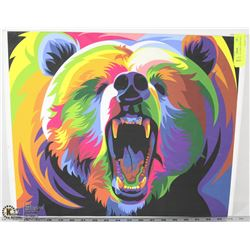 1 VIBRANT COLOURED  BEAR PRINT ON CANVAS