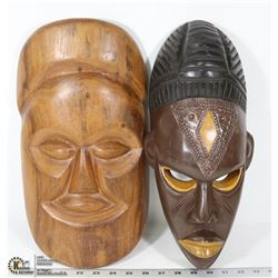 SET OF 2 WALL HANGING AFRICAN FACES