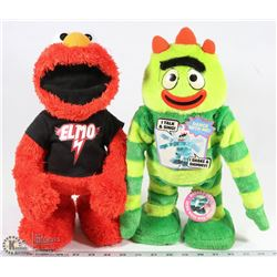 PAIR OF ANIMATED TALKING TOYS INCL ELMO AND YO