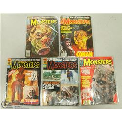 5 VINTAGE HORROR MONSTERS MAGAZINES.