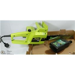 "POULIN 14"" GREEN ELECTRIC CHAIN SAW."