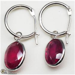 2) 14KT WHITE GOLD ENHANCED NATURAL RUBY  EARRINGS