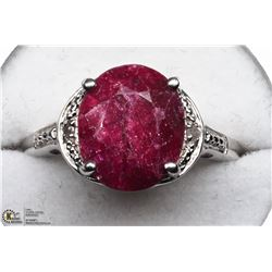 5) STERLING SILVER RUBY OVAL RING