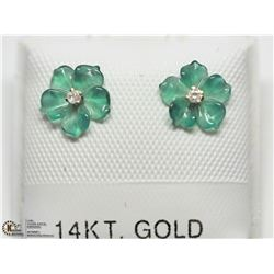 9) 14KT DIAMOND FLOWER JACKET EARRINGS