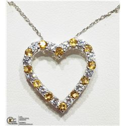 10) STERLING SILVER CITRINE HEART SHAPED NECKLACE